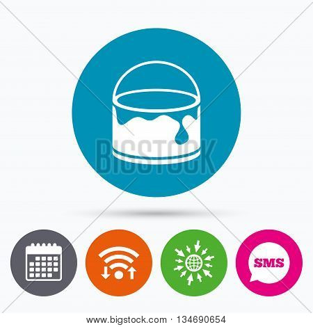 Wifi, Sms and calendar icons. Bucket of paint icon. Painting works sign. Painter equipment. Go to web globe.