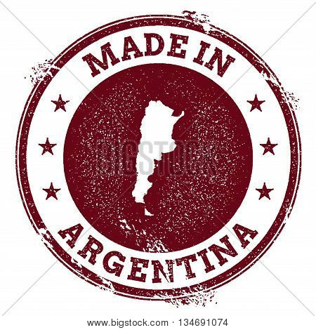 Argentina Vector Seal. Vintage Country Map Stamp. Grunge Rubber Stamp With Made In Argentina Text An