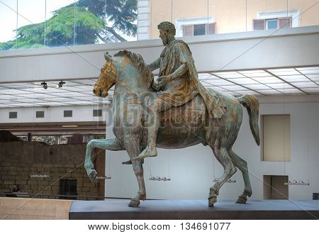 ROME, ITALY - APRIL 8, 2016:  The equestrian statue of Marcus Aurelius in Capitoline Hill, Rome, Italy.