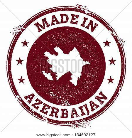 Azerbaijan Vector Seal. Vintage Country Map Stamp. Grunge Rubber Stamp With Made In Azerbaijan Text