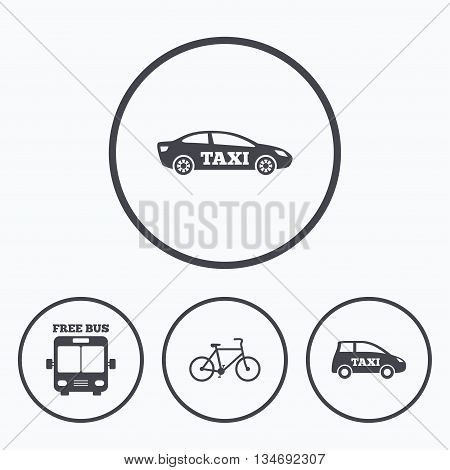 Public transport icons. Free bus, bicycle and taxi signs. Car transport symbol. Icons in circles.