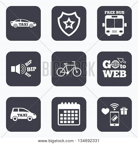 Mobile payments, wifi and calendar icons. Public transport icons. Free bus, bicycle and taxi signs. Car transport symbol. Go to web symbol.