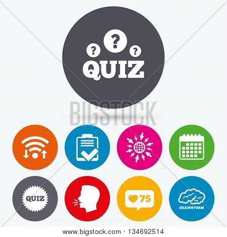 Wifi, like counter and calendar icons. Quiz icons. Brainstorm or human think. Checklist symbol. Survey poll or questionnaire feedback form. Questions and answers game sign. Human talk, go to web.