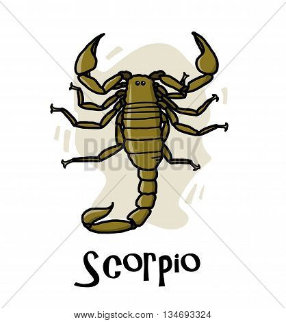Scorpio Zodiac, a hand drawn vector cartoon illustration of Scorpio zodiac, The Scorpion.