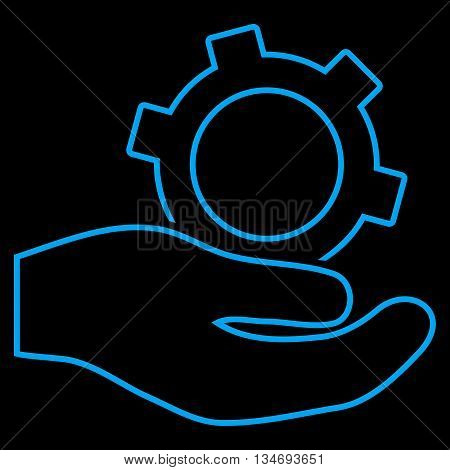Engineering Service glyph icon. Style is contour flat icon symbol, blue color, black background.