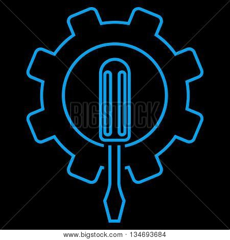 Engineering glyph icon. Style is outline flat icon symbol, blue color, black background.