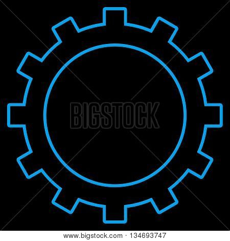 Gear glyph icon. Style is contour flat icon symbol, blue color, black background.