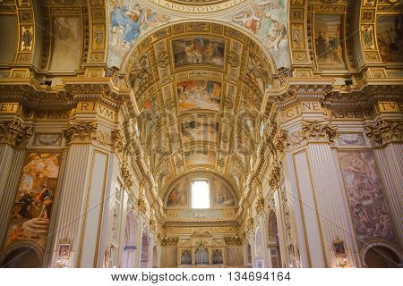 ROME, ITALY - APRIL 8, 2016: Church of the Holy Name of Jesus on Piazza del Gesu 1584. Interior Chiesa del Gesu