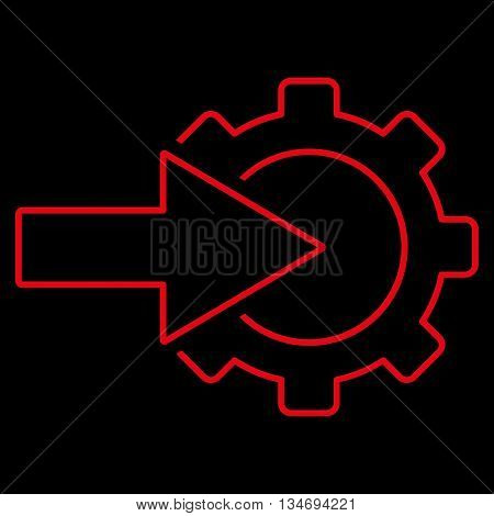 Cog Integration glyph icon. Style is stroke flat icon symbol, red color, black background.