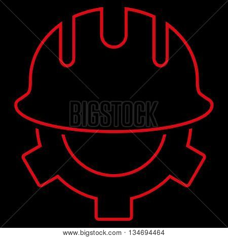 Development Helmet glyph icon. Style is stroke flat icon symbol, red color, black background.