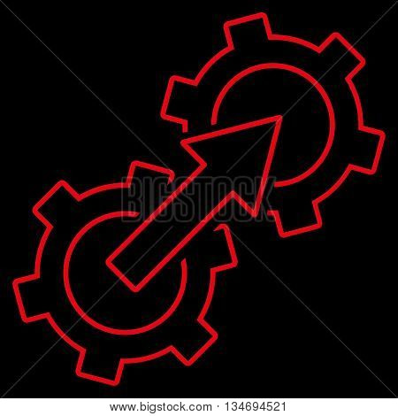 Gear Integration glyph icon. Style is outline flat icon symbol, red color, black background.