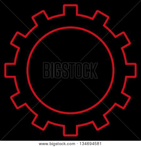 Gear glyph icon. Style is outline flat icon symbol, red color, black background.