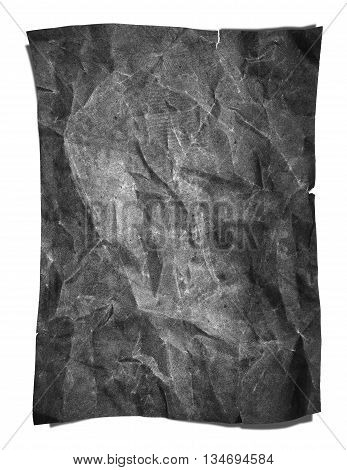 Old grunge crumpled gray paper texture, isolated on white background
