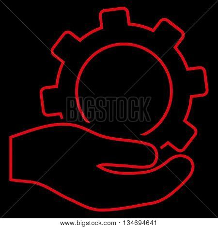 Service glyph icon. Style is contour flat icon symbol, red color, black background.