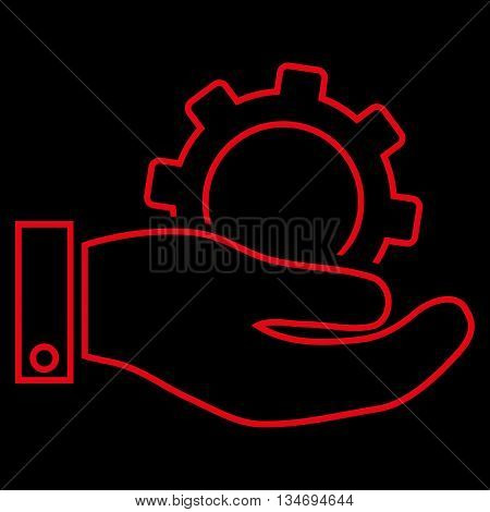 Service glyph icon. Style is linear flat icon symbol, red color, black background.