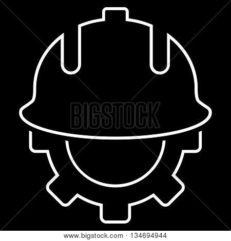 Development Helmet glyph icon. Style is stroke flat icon symbol, white color, black background.
