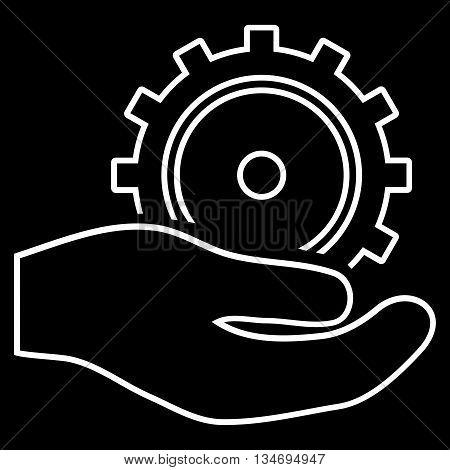 Development Service glyph icon. Style is stroke flat icon symbol, white color, black background.