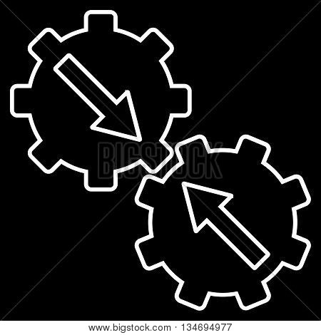 Gear Integration glyph icon. Style is contour flat icon symbol, white color, black background.