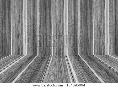 Perspective lines of wood background with black and white stock photo