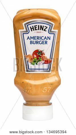 Mallorca Spain - April 20 2016: Heinz American Burger Saucebottle on a White Bacground