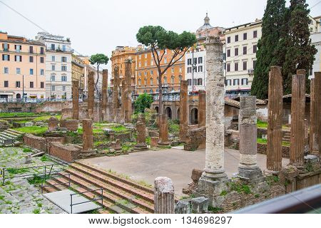ROME, ITALY - APRIL 8, 2016: Largo di Torre Argentina square, hosts four Republican Roman temples, and the remains of Pompey's Theatre 80 BC