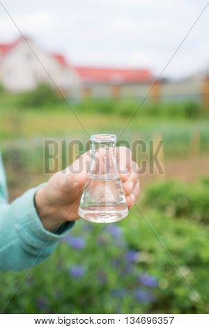 Water Purity Test, liquid in laboratory glassware