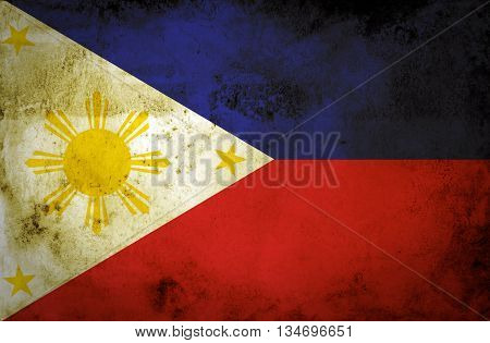 Grunge flag of philippines texture background .