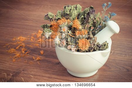 Vintage Photo, Dried Herbs And Flowers In White Mortar, Herbalism, Decoration