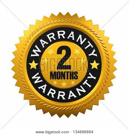 2 Years Warranty Sign isolated on white background. 3D render