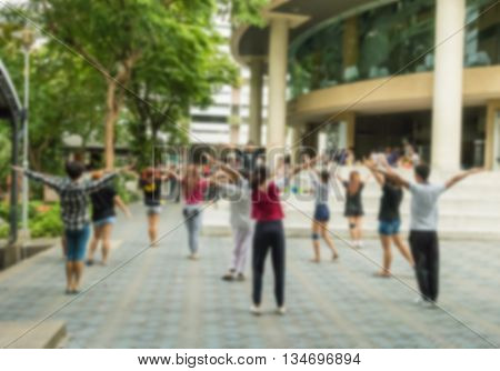 Motion blur of activity practice for cheerleader of collegian in university on holiday