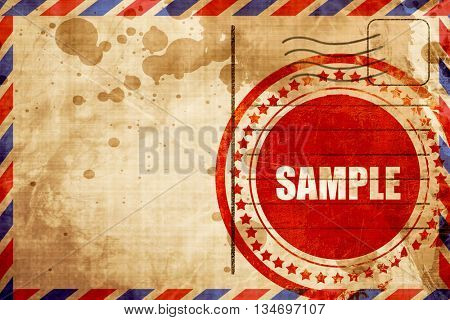 buy now sign, red grunge stamp on an airmail background
