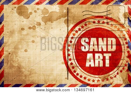 sand art, red grunge stamp on an airmail background