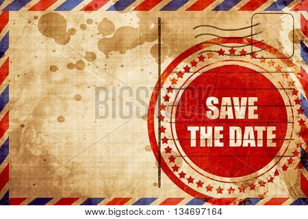 save the date, red grunge stamp on an airmail background