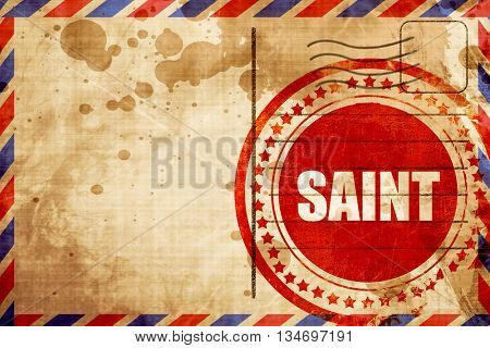 saint, red grunge stamp on an airmail background