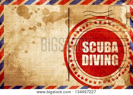 scuba diving, red grunge stamp on an airmail background