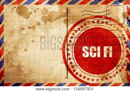sci fi, red grunge stamp on an airmail background