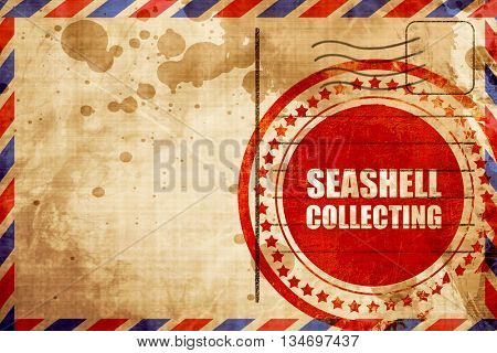 seashell collecting, red grunge stamp on an airmail background