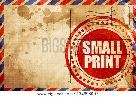 small print, red grunge stamp on an airmail background