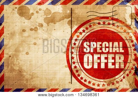 special offer, red grunge stamp on an airmail background