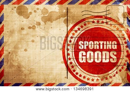 sporting goods, red grunge stamp on an airmail background