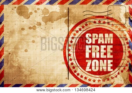 spam free zone, red grunge stamp on an airmail background