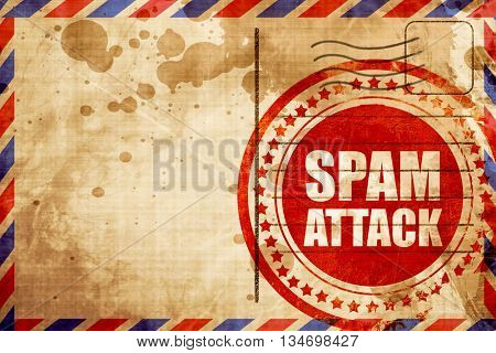 spam attack, red grunge stamp on an airmail background