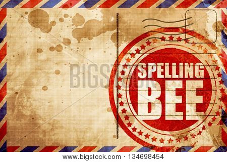spelling bee, red grunge stamp on an airmail background