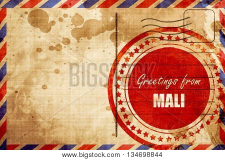 Greetings from mali, red grunge stamp on an airmail background