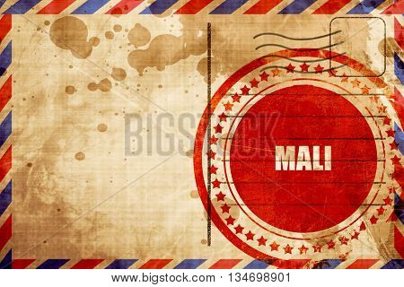 Mali, red grunge stamp on an airmail background