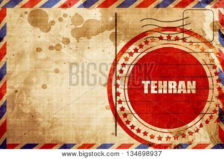 tehran, red grunge stamp on an airmail background