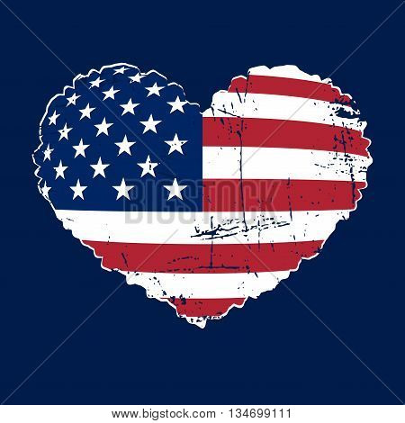 American flag heart shaped icon on white background. Patriotic USA emblem typography Graphics. National printing design. Grunge style. Symbol of celebrate Independence Day America. illustration