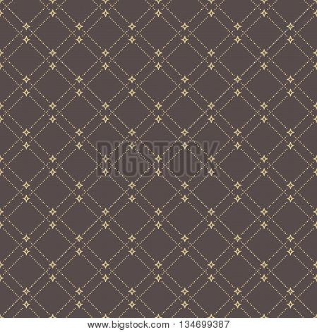 Geometric repeating vector ornament with diagonal dotted lines. Seamless abstract modern background. Brown and golden pattern
