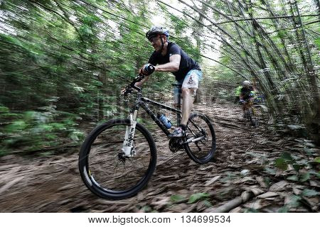 Prachinburi Thailand -June 05 2016: Thailand Enduro Series 2016. Mountain bike races at Kao E-TO which combines cross-country mountain bike downhill on June 4-6 2016.
