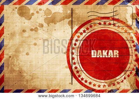 dakar, red grunge stamp on an airmail background
